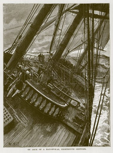 On Deck of a Man-of-War, Eighteenth Century. Illustration for The Sea by F Whymper (Cassell, c 1890).