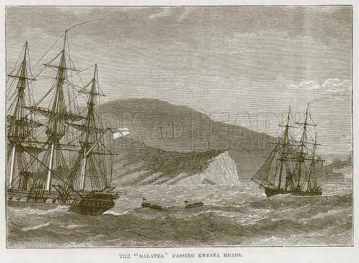 "The ""Galatea"" Passing Knysna Heads. Illustration for The Sea by F Whymper (Cassell, c 1890)."