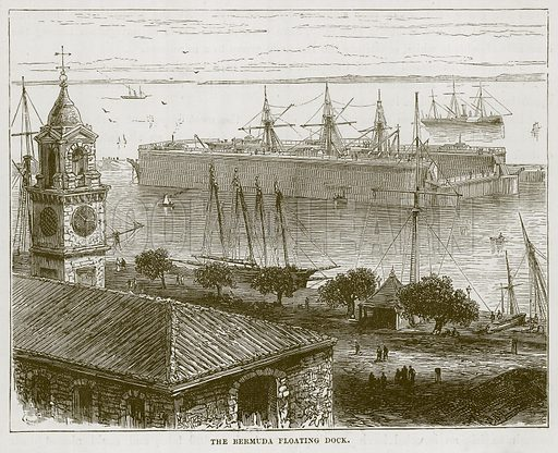 The Bermuda Floating Dock. Illustration for The Sea by F Whymper (Cassell, c 1890).