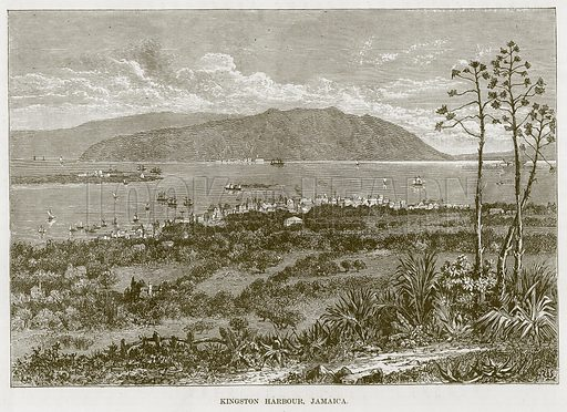 Kingston Harbour, Jamaica. Illustration for The Sea by F Whymper (Cassell, c 1890).