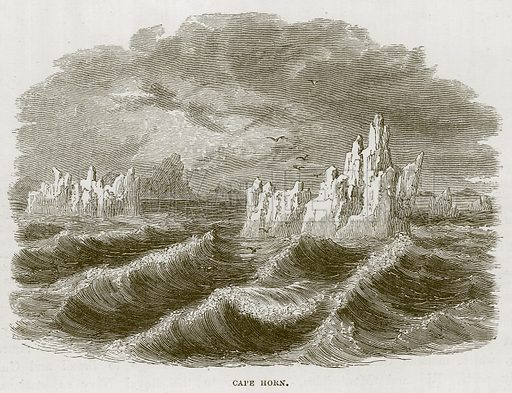 Cape Horn. Illustration for The Sea by F Whymper (Cassell, c 1890).