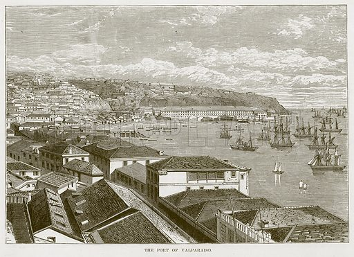 The Port of Valparaiso. Illustration for The Sea by F Whymper (Cassell, c 1890).