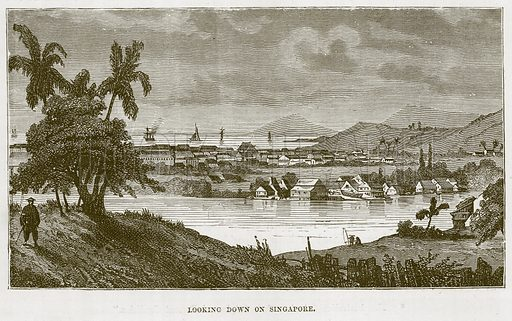 Looking down on Singapore. Illustration for The Sea by F Whymper (Cassell, c 1890).