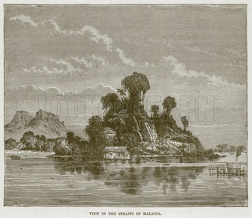 View in the Straits of Malacca. Illustration for The Sea by F Whymper (Cassell, c 1890).
