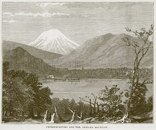 Petropaulovski and the Avatcha Mountain. Illustration for The Sea by F Whymper (Cassell, c 1890).