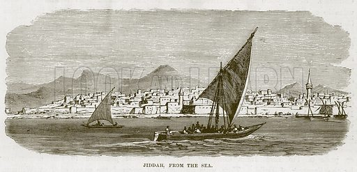 Jiddah, from the Sea. Illustration for The Sea by F Whymper (Cassell, c 1890).