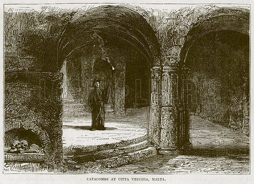 Catacombs at Citta Vecchia, Malta. Illustration for The Sea by F Whymper (Cassell, c 1890).