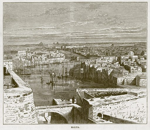 Malta. Illustration for The Sea by F Whymper (Cassell, c 1890).