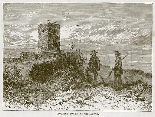 Moorish Tower at Gibraltar. Illustration for The Sea by F Whymper (Cassell, c 1890).