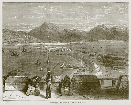 Gibraltar: The Neutral Ground. Illustration for The Sea by F Whymper (Cassell, c 1890).