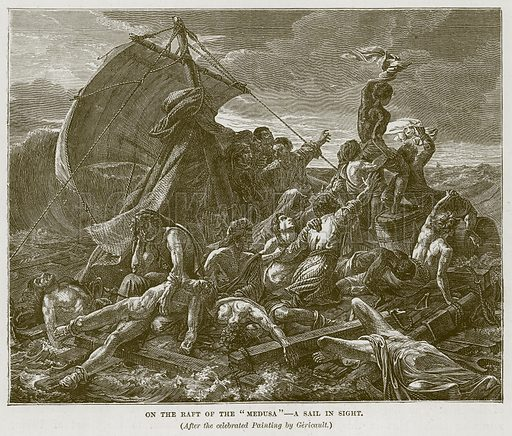"On the Raft of the ""Medusa""--A Sail in Sight. Illustration for The Sea by F Whymper (Cassell, c 1890)."