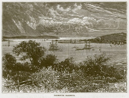 Falmouth Harbour. Illustration for The Sea by F Whymper (Cassell, c 1890).