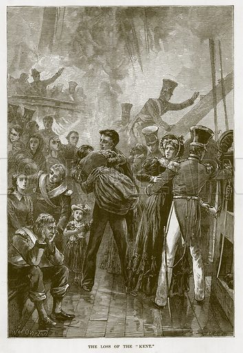 """The Loss of the """"Kent."""" Illustration for The Sea by F Whymper (Cassell, c 1890)."""