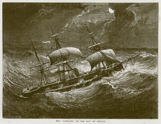 """The """"Captain"""" in the Bay of Biscay. Illustration for The Sea by F Whymper (Cassell, c 1890)."""