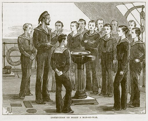 Instruction on Board a Man-of-War. Illustration for The Sea by F Whymper (Cassell, c 1890).