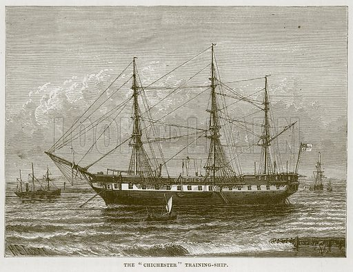 "The ""Chichester"" Training-Ship. Illustration for The Sea by F Whymper (Cassell, c 1890)."