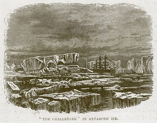 """""""The Challenger"""" in Antarctic Ice. Illustration for The Sea by F Whymper (Cassell, c 1890)."""