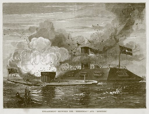 "Engagement between the ""Merrimac"" and ""Monitor."" Illustration for The Sea by F Whymper (Cassell, c 1890)."