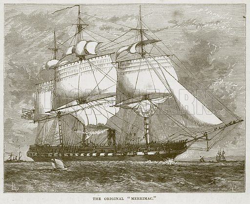"The Original ""Merrimac."" Illustration for The Sea by F Whymper (Cassell, c 1890)."