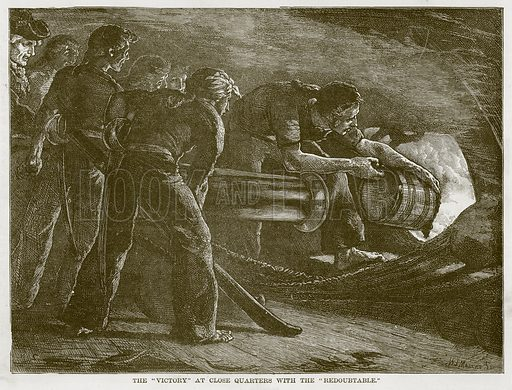 "The ""Victory"" at Close Quarters with the ""Redoubtable."" Illustration for The Sea by F Whymper (Cassell, c 1890)."