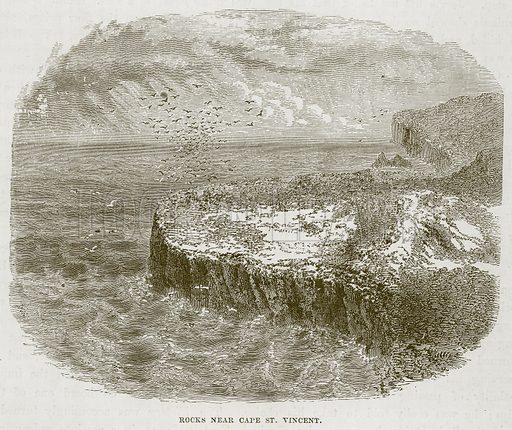 Rocks near Cape St. Vincent. Illustration for The Sea by F Whymper (Cassell, c 1890).