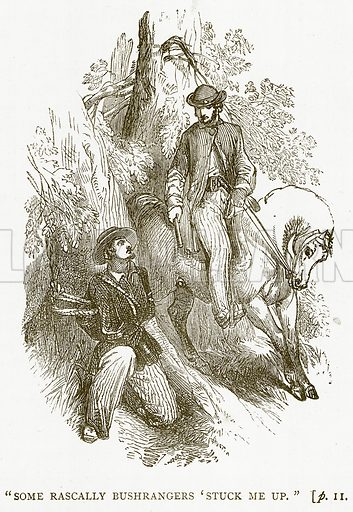 """Some Rascally Bushrangers 'Stuck me up"". Illustration for Australian Adventures by William Kingston (George Routledge, c 1890)."