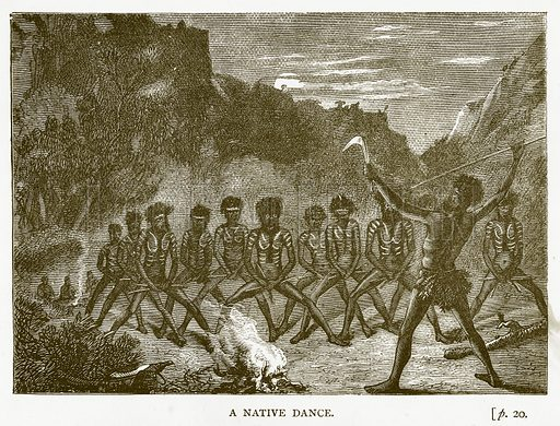 A Native Dance. Illustration for Australian Adventures by William Kingston (George Routledge, c 1890).