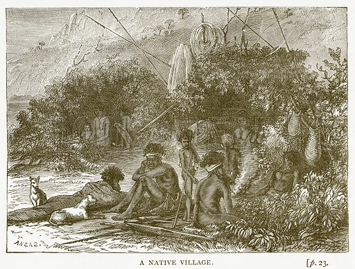A Native Village. Illustration for Australian Adventures by William Kingston (George Routledge, c 1890).