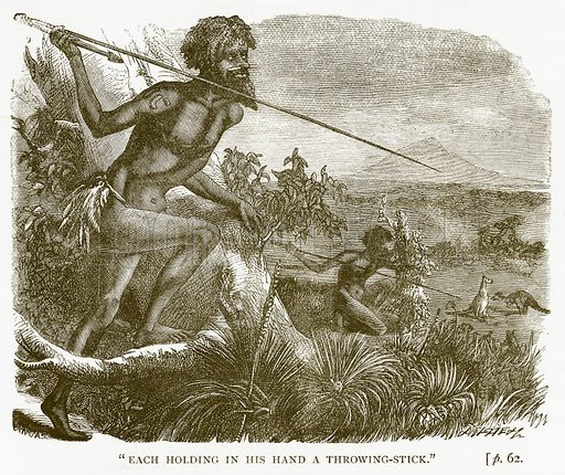 """""""Each Holding in his Hand a Throwing-Stick."""" Illustration for Australian Adventures by William Kingston (George Routledge, c 1890)."""