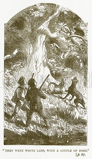 """They were White Lads, with a Couple of Dogs."" Illustration for Australian Adventures by William Kingston (George Routledge, c 1890)."