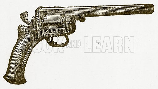 Pistol. Illustration for Australian Adventures by William Kingston (George Routledge, c 1890).