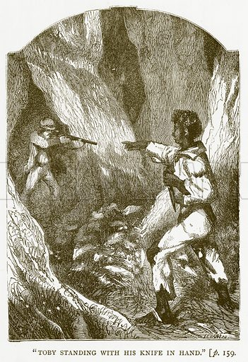 """Toby Standing with his Knife in Hand."" Illustration for Australian Adventures by William Kingston (George Routledge, c 1890)."