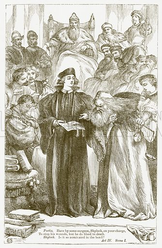 The Merchant of Venice. Illustration for The Plays of William Shakespeare edited by Charles and Mary Cowden Clarke (Cassell, 1890).