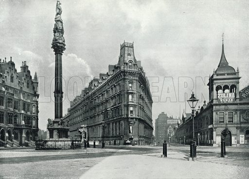 Westminster Palace Hotel, with the Westminster Column, Queen Anne's Mansions, and the Royal Aquarium. Photograph from Round London (George Newnes, 1896).