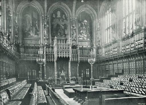 The Houses Of Parliament, Interior Of The House Of Lords. Photograph From  Round London