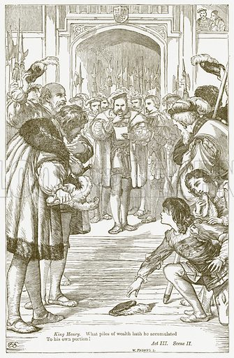 King Henry VIII. Illustration for The Plays of William Shakespeare edited by Charles and Mary Cowden Clarke (Cassell, c 1890).