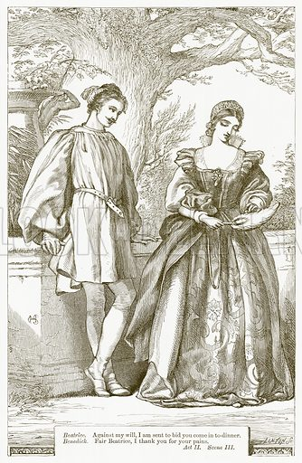 Much Ado About Nothing. Illustration for The Plays of William Shakespeare edited by Charles and Mary Cowden Clarke (Cassell, c 1890).