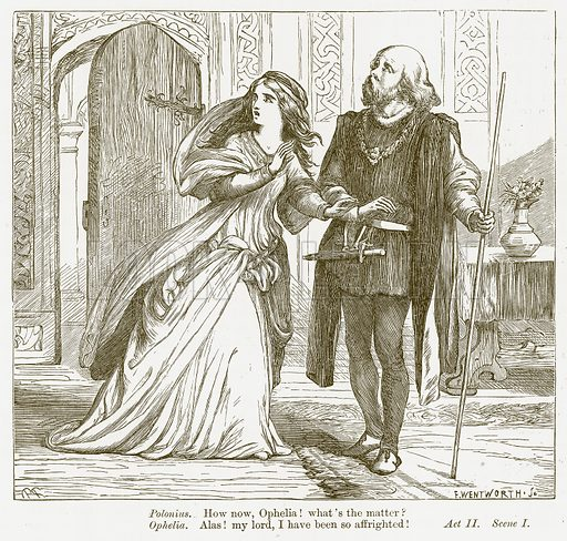 Hamlet. Illustration for The Plays of William Shakespeare edited by Charles and Mary Cowden Clarke (Cassell, c 1890).