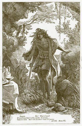 Cymbeline. Illustration for The Plays of William Shakespeare edited by Charles and Mary Cowden Clarke (Cassell, c 1890).