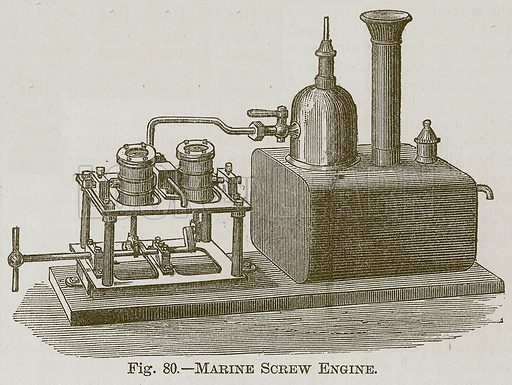 Marine Screw Engine. Illustration for Cassell's Book of Sports and Pastimes (Cassell, c 1890).