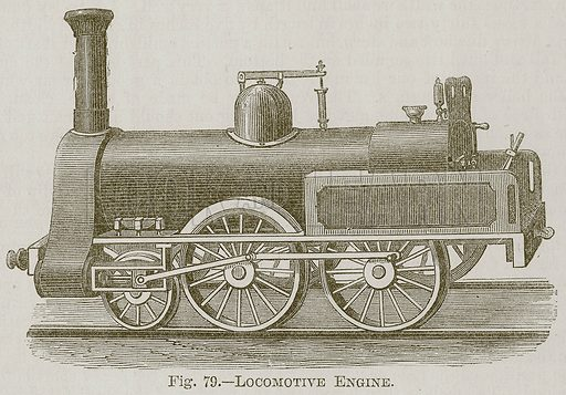 Locomotive Engine. Illustration for Cassell's Book of Sports and Pastimes (Cassell, c 1890).