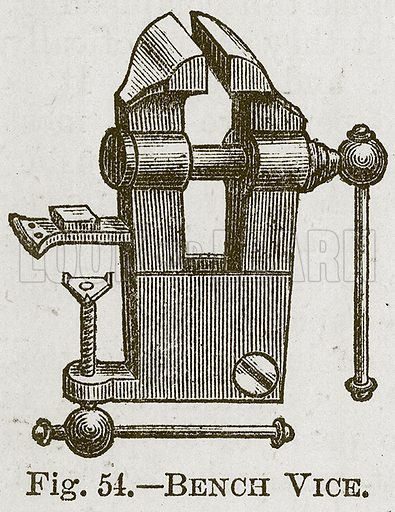 Bench Vice. Illustration for Cassell's Book of Sports and Pastimes (Cassell, c 1890).
