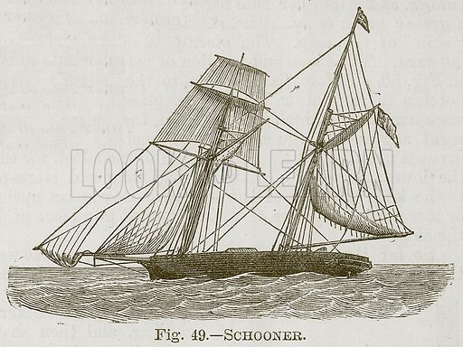 Schooner. Illustration for Cassell's Book of Sports and Pastimes (Cassell, c 1890).