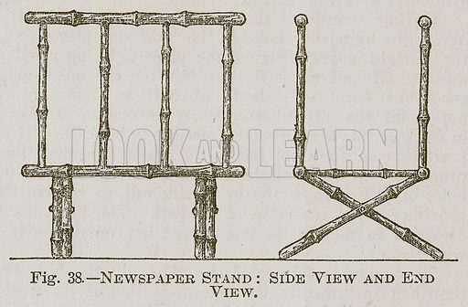 Newspaper Stand: Side View and End View. Illustration for Cassell's Book of Sports and Pastimes (Cassell, c 1890).
