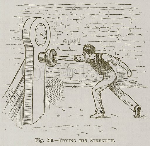 Trying his Strength. Illustration for Cassell's Book of Sports and Pastimes (Cassell, c 1890).