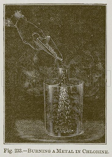 Burning a Metal in Chlorine. Illustration for Cassell's Book of Sports and Pastimes (Cassell, c 1890).