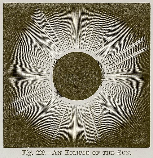 An Eclipse of the Sun. Illustration for Cassell's Book of Sports and Pastimes (Cassell, c 1890).