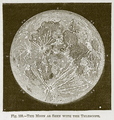 The Moon as seen with the Telescope. Illustration for Cassell's Book of Sports and Pastimes (Cassell, c 1890).