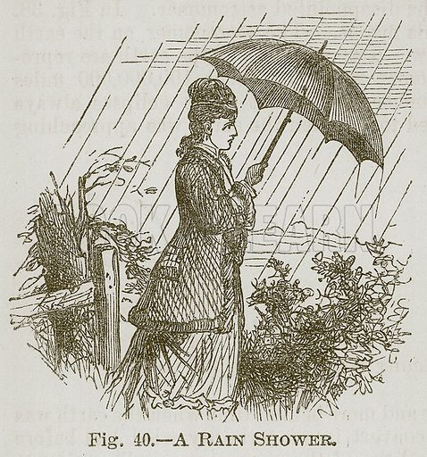 A Rain Shower. Illustration for Cassell's Book of Sports and Pastimes (Cassell, c 1890).