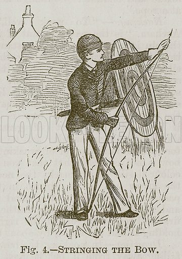 Stringing the Bow. Illustration for Cassell's Book of Sports and Pastimes (Cassell, c 1890).